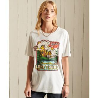 Superdry dámske tričko Heritage Mountain - Krémová