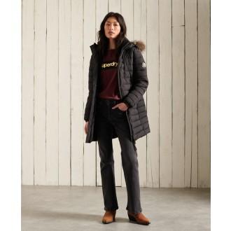Superdry dámsky zimný kabát Super Fuji Jacket - Čierna