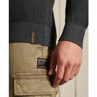 Superdry pánsky pulóver Academy Dyed Textured - Čierna