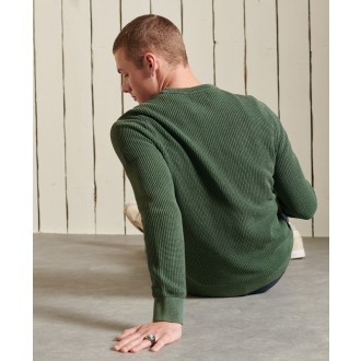 Superdry pánsky pulóver Academy Dyed Textured - Zelená