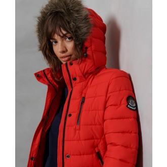 Superdry dámsky zimný kabát Super Fuji Jacket - Červená