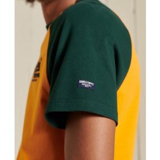 Superdry pánske tričko Vintage Logo Raglan Standard Weight - Žltá