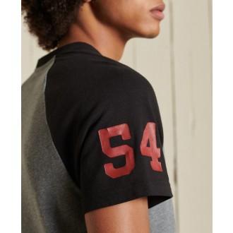 Superdry pánske tričko Vintage Logo Raglan Standard Weight - Sivá