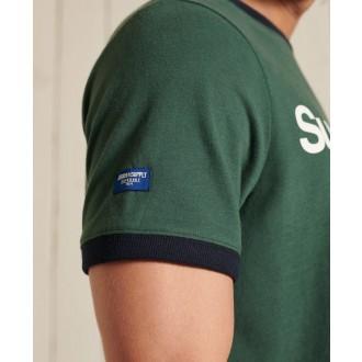 Superdry pánske tričko Core Logo Ac Ringer - Zelená