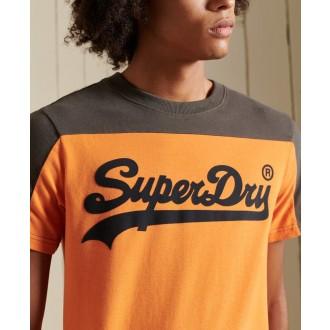 Superdry pánske tričko Vintage Logo Ac Colour block - Oranžová