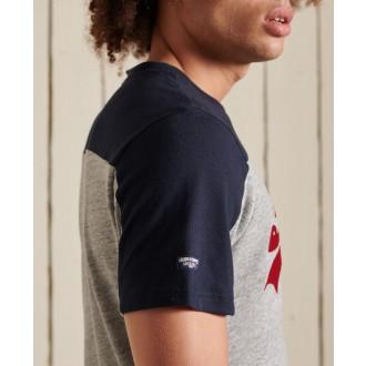 Superdry pánske tričko Vintage Logo Ac Colour block - Sivá