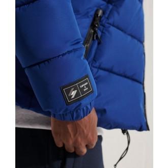 Superdry pánska bunda Hooded Sports Puffer - Námornícka modrá