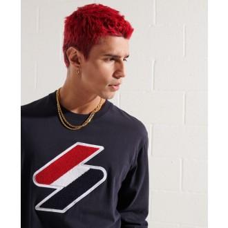 Superdry pánske dlhorukávové tričko Sportstyle Logo Che - Námornícka modrá