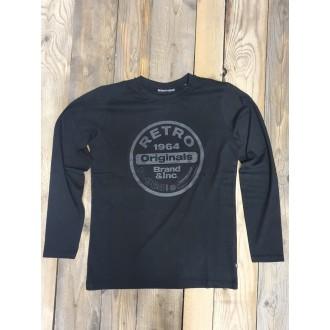 Retrojeans pánske dlhorukávové tričko ETNA - Čierna