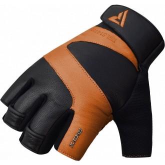 RDX S14 Ferris kožené fitness rukavice - Hnedé