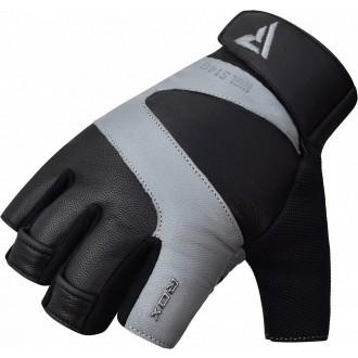 RDX S14 Ferris kožené fitness rukavice - Sivé