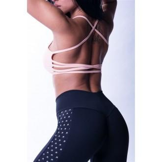 """NEBBIA Fitness legíny s logom """"N"""" na boku 653 - Čierne"""