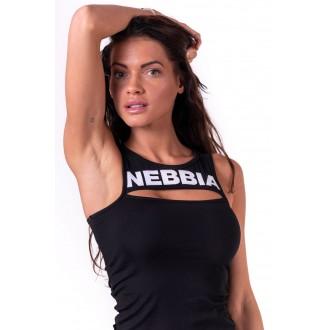 NEBBIA Dámsky Top Rib Cut Out 678 Čierny