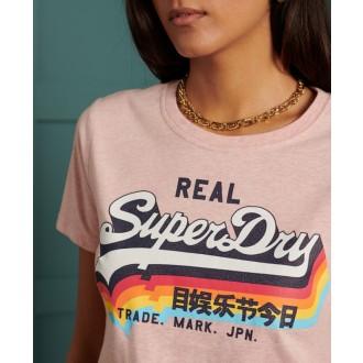 Superdry Dámske Tričko Vintage Logo - Ružové